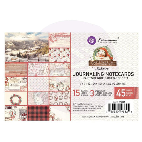 Prima Marketing - Christmas In The Country - Journaling Cards 4 inchX6 inch 45 pack 15 Designs/3 Each