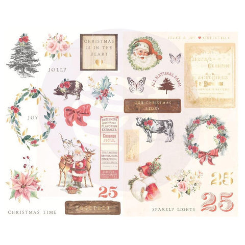 Prima Marketing - Christmas In The Country - Chipboard Stickers 29 pack Icons with Foil Accents