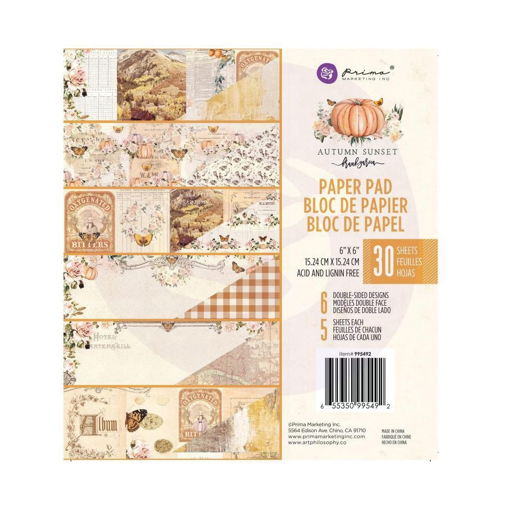 Prima Marketing - Double-Sided Paper Pad 6 inchX6 inch 30 pack - Autumn Sunset - 6 Designs/5 Each