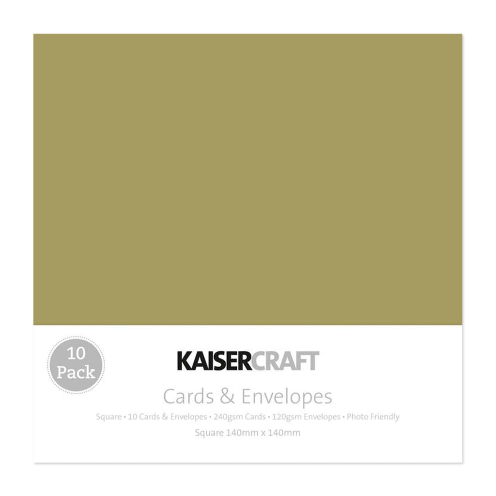 Kaisercraft - Square Cards with Envelopes 5.5in x 5.5in 10 pack - Olive