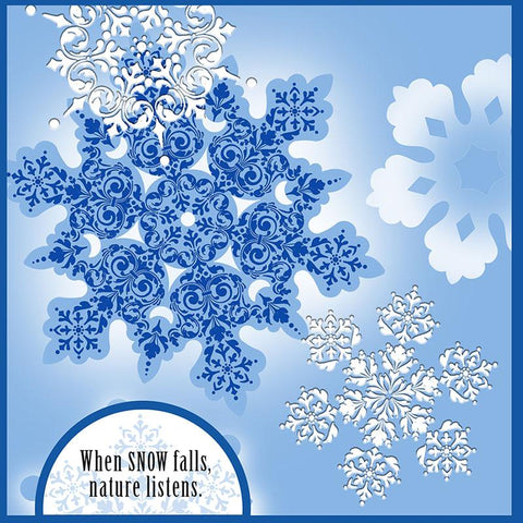 Stampendous - Cling Stamp With Template Set of Intricate Snowflakes