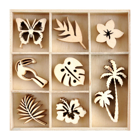 Kaisercraft - Sun kissed Collection - Mini Wooden Flourish 40 piece pack