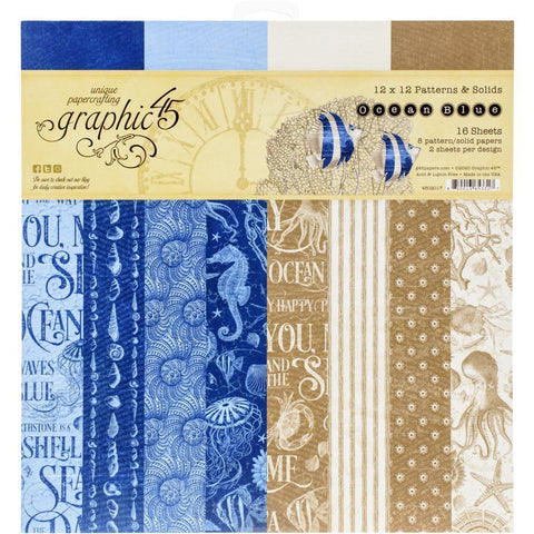 "Graphic 45 - Graphic 45 Double-Sided Paper Pad 12""X12"" 16/Pkg Ocean Blue"