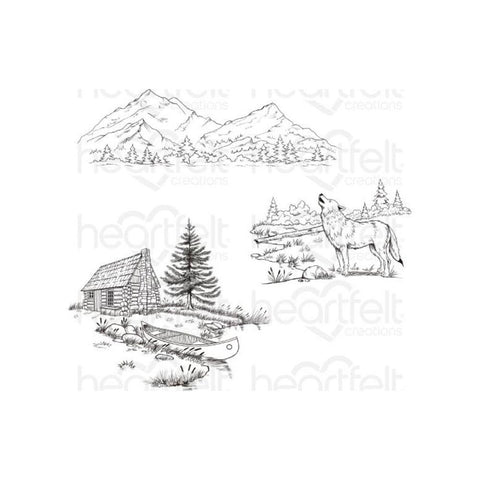 Heartfelt Creations Create A 'Scape Backcountry Cling Rubber Stamps, Set of 3.