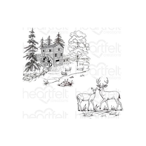 Heartfelt Creations Create A 'Scape Wilderness Cling Rubber Stamps, Set of 2.