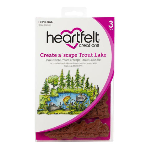Heartfelt Creations Create A 'Scape Trout Lake Cling Rubber Stamps, Set of 3.
