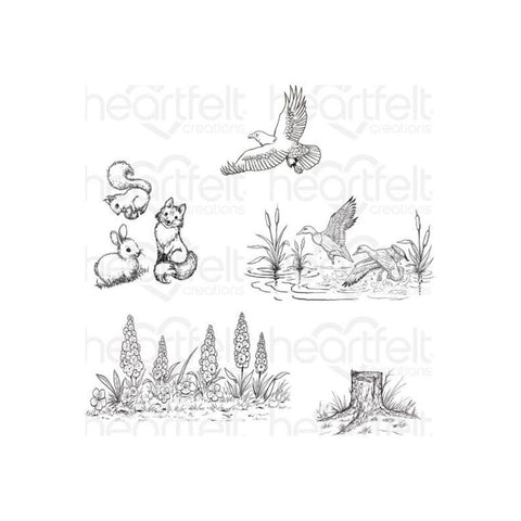 Heartfelt Creations Create A 'Scape Nature Cling Rubber Stamps, Set of 5.