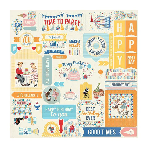 Authentique Hooray Cardstock Stickers 12in x 12in  Details