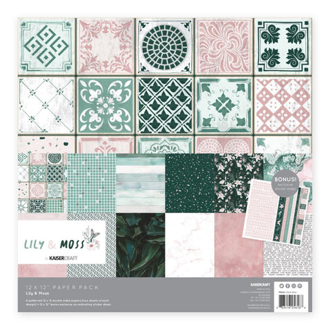 Kaisercraft - Paper Pack 12in x 12in 12 per pack - Lily & Moss