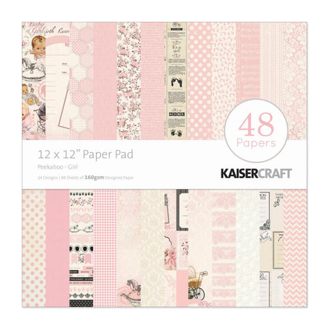 Kaisercraft - Paper Pad 12in x 12in 48 pack - Peekaboo Girl