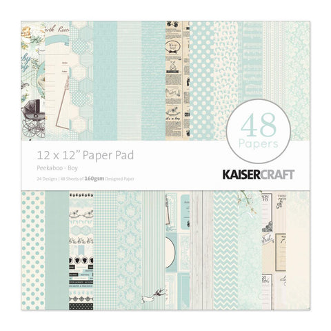 Kaisercraft - Paper Pad 12in x 12in 48 pack - Peekaboo Boy