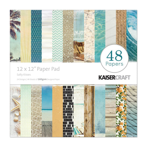 Kaisercraft - Paper Pad 12in x 12in 48 pack - Sandy Toes Salty Kisses