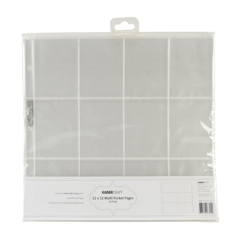Kaisercraft - D-Ring Album Page Protectors 12in x 12in 10 pack (12) 3in x 4in Pockets