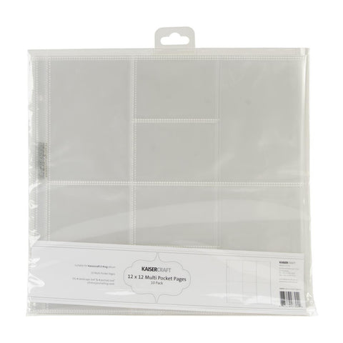 Kaisercraft - D-Ring Album Page Protectors 12in x 12in 10 pack (4) 4in x 3in & (4) 4in x 6in Pockets