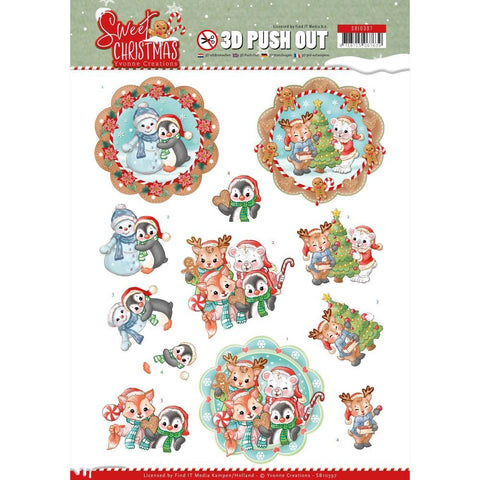 Find It Trading Yvonne Creations Punchout Sheet - Sweet Winter Animals, Sweet Christmas