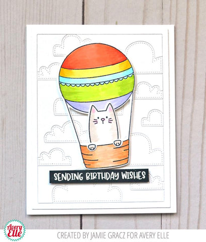 Avery Elle Clear Stamp Set 4in x 3in - Peek-A-Boo Balloon