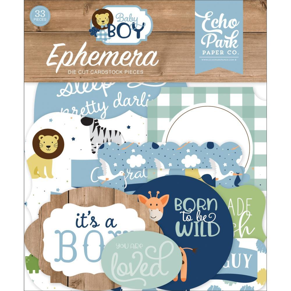Echo Park Cardstock Ephemera 33 pack - Icons, Baby Boy