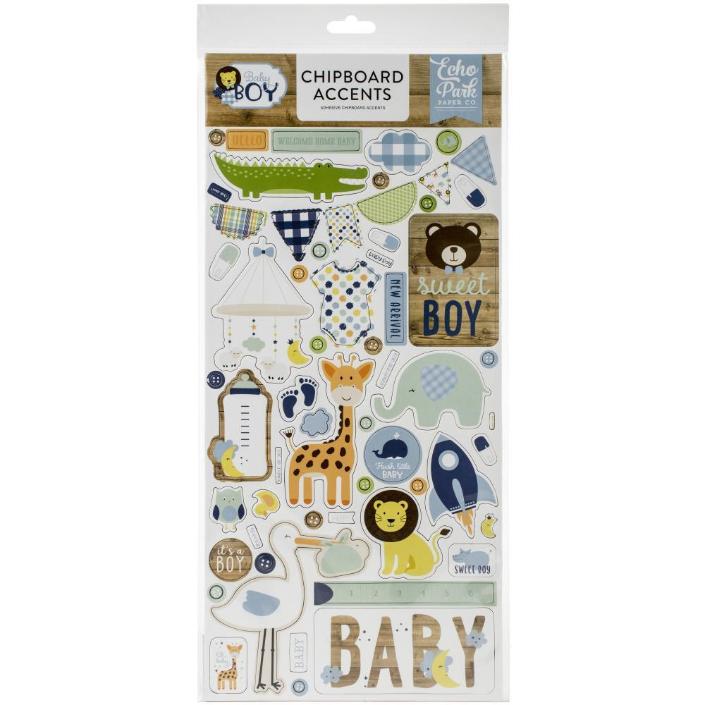 Echo Park Baby Boy Chipboard 6in x 13in - Accents