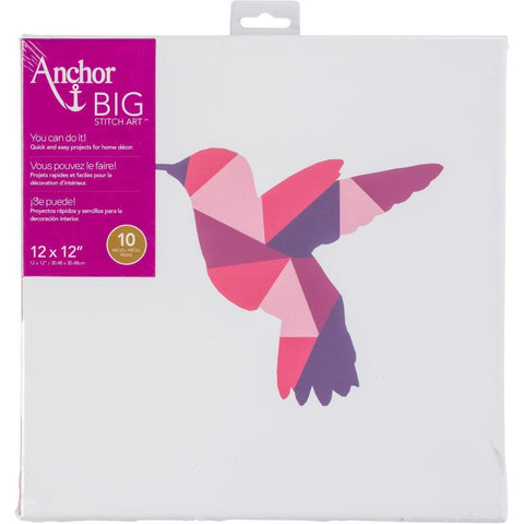 Anchor Big Stitch Art Embroidery Kit 12x12 inch - Hummingbird Stamped On Stretched Canvas