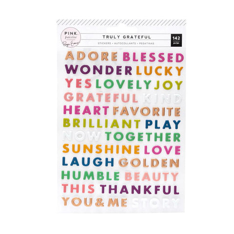 Pink Paislee Paige Evans - Truly Grateful Collection - Puffy Word Stickers with Matte Copper Foil Accents