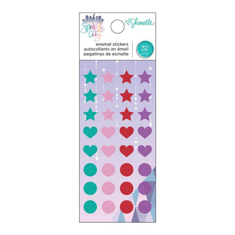 American Crafts - Shimelle Sparkle City Collection - Enamel Dots with Glitter Accents