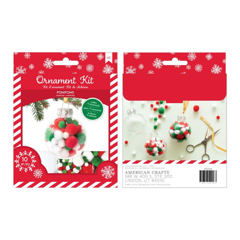 American Crafts Christmas Ornament Kit 4 per Pack - Pom Poms