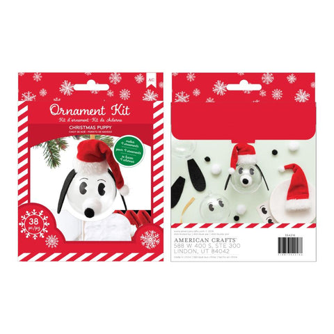 American Crafts Christmas Ornament Kit 4 per Pack - Christmas Puppy