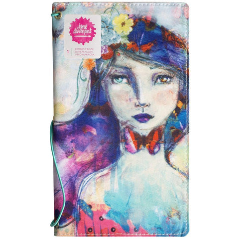 Jane Davenport Butterfly Effect Canvas Cover Book 5x9 inch - Girl With 2 Elastics & 4 Paper Inserts