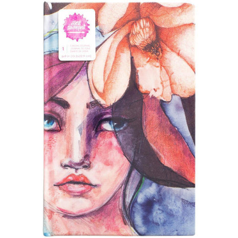 Jane Davenport Mixed Media Canvas Cover Journal 9X6 inch - Girl Print With 96 Watercolor Paper Pages