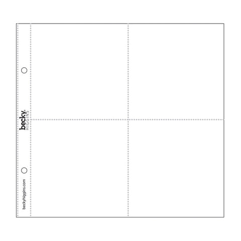 Project Life Photo Pocket Pages - 8in x 8in - 4 Squared Pockets - 10 Pack