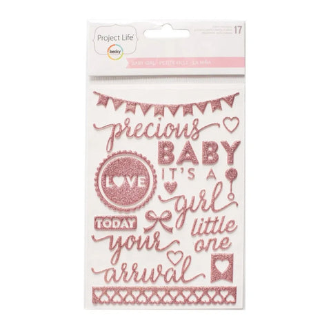 Project Life Baby Girl 20 Puffy Stickers