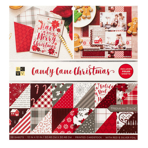 DCWV - D/Sided 12x12in Speciality Paper Stack - Candy Cane Christmas, Silver and Gold