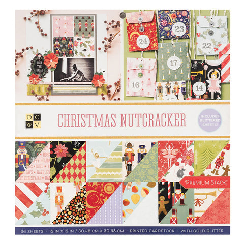 DCWV - D/Sided 12x12in Speciality Paper Stack - Christmas Nutcracker, Gold Glitter 3