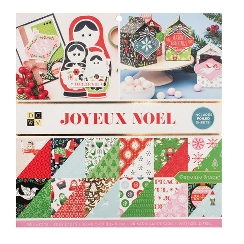 DCWV - D/Sided 12x12in Speciality Paper Stack - Joyeux Noel, Gold Foil