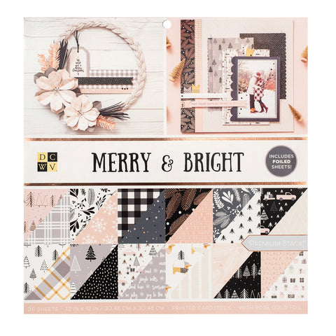 DCWV - D/Sided 12x12in Speciality Paper Stack - Merry and Bright, Rose Gold and Gold Foil
