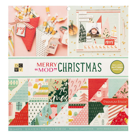 DCWV - D/Sided 12x12in Speciality Paper Stack - Merry Mod Christmas, Iridescent Glitter