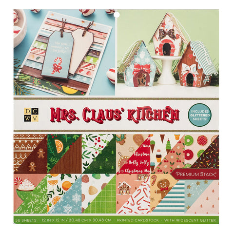 DCWV - D/Sided 12x12in Speciality Paper Stack - Mrs. Claus Kitchen, Iridescent Glitter