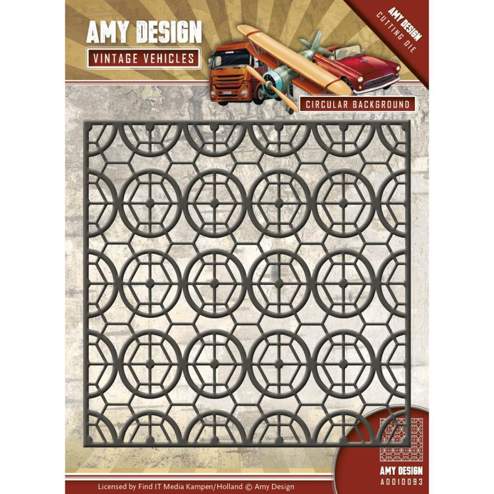 Find It Trading Amy Design Vintage Vehicles Die Circular Background