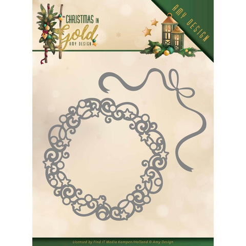 Find It Trading - Amy Design Die - Wreath, Christmas In Gold