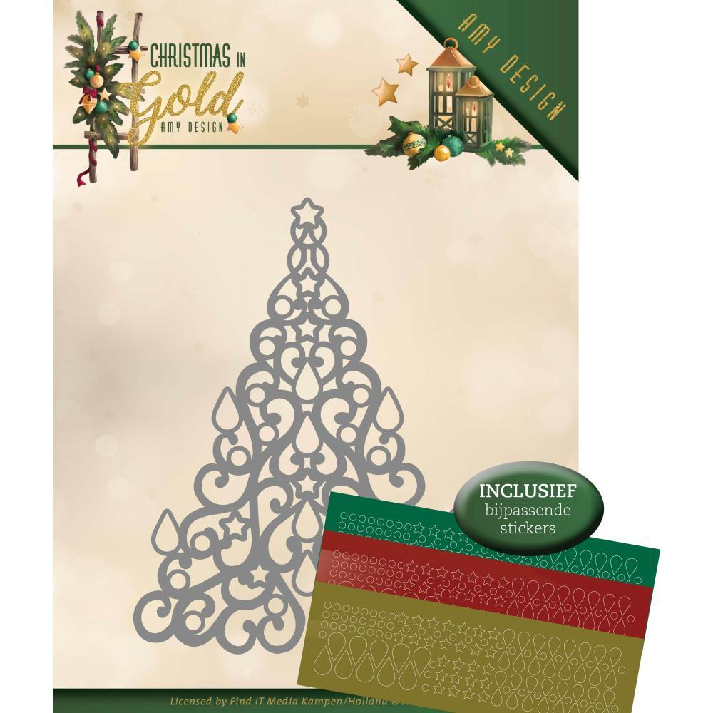 Find It Trading - Amy Design Die - Tree Hobbydots, Christmas In Gold