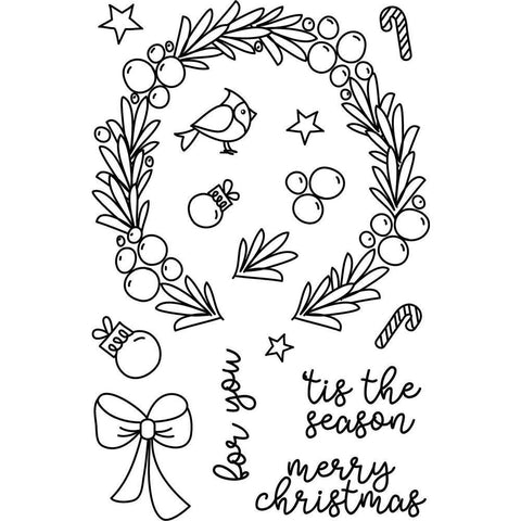 Avery Elle Clear Stamps - Festive Wreath