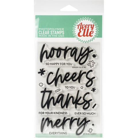 Avery Elle Clear Stamp Set 4in x 6in - Hooray