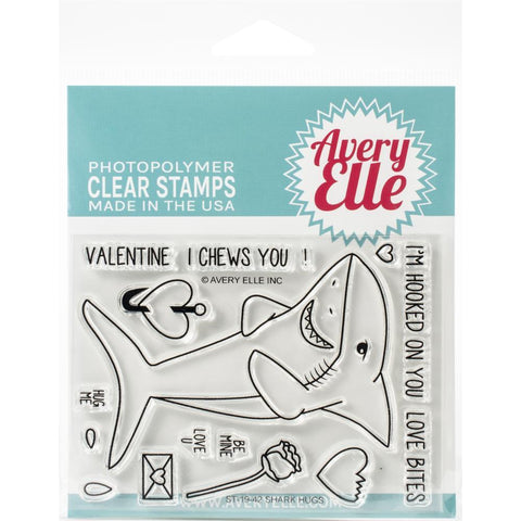 Avery Elle Clear Stamp Set 4in x 3in - Shark Hugs
