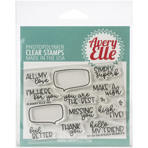 Avery Elle Clear Stamp Set 4X3in - Speech Bubbles