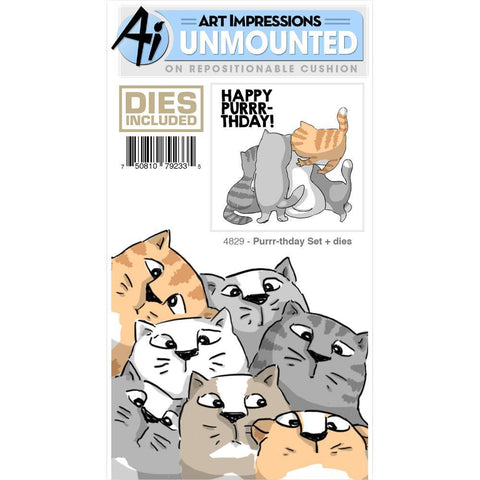 Art Impressions Front-N-Backs Stamp & Die Set - Purr-Thday