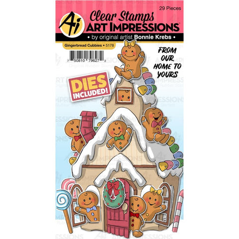 Art Impressions - Critter Cubbies Clear Stamp and Die Set 4x6 inch - Gingerbread