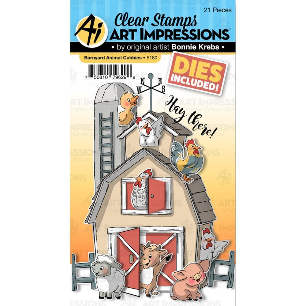 Art Impressions - Critter Cubbies Clear Stamp and Die Set 4x6 inch - Barnyard Animal