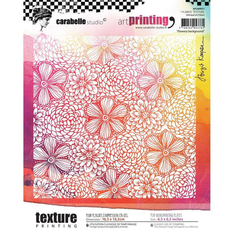 Carabelle Studio Art Printing Square Rubber Texture Plate - Flowery Background