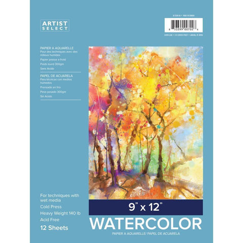 Artist Select Watercolor Pad 9x12 inch 12 Sheets