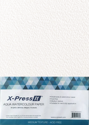 Xpress-It - Aqua Watercolour Paper 300gsm - A4 Pk of 10